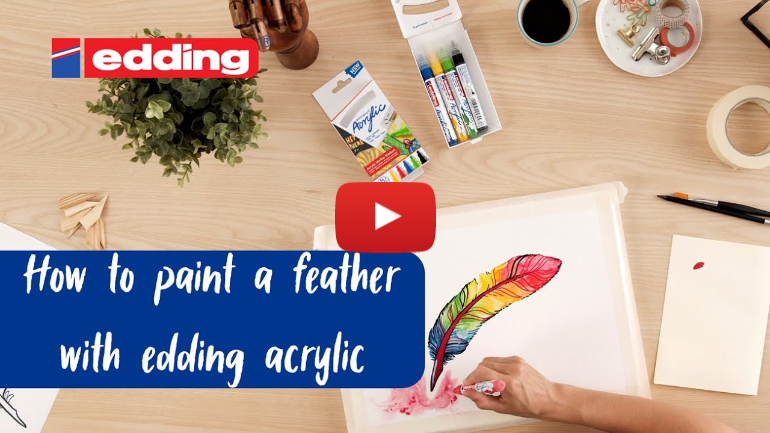 How to paint a feather with edding acrylic